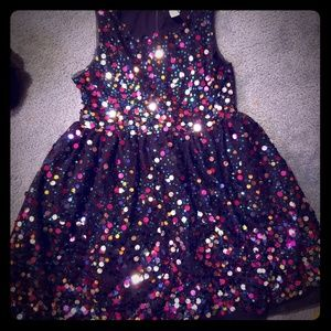 Girls Sz 6/6x Black w/ Colorful Sequin Party Dress